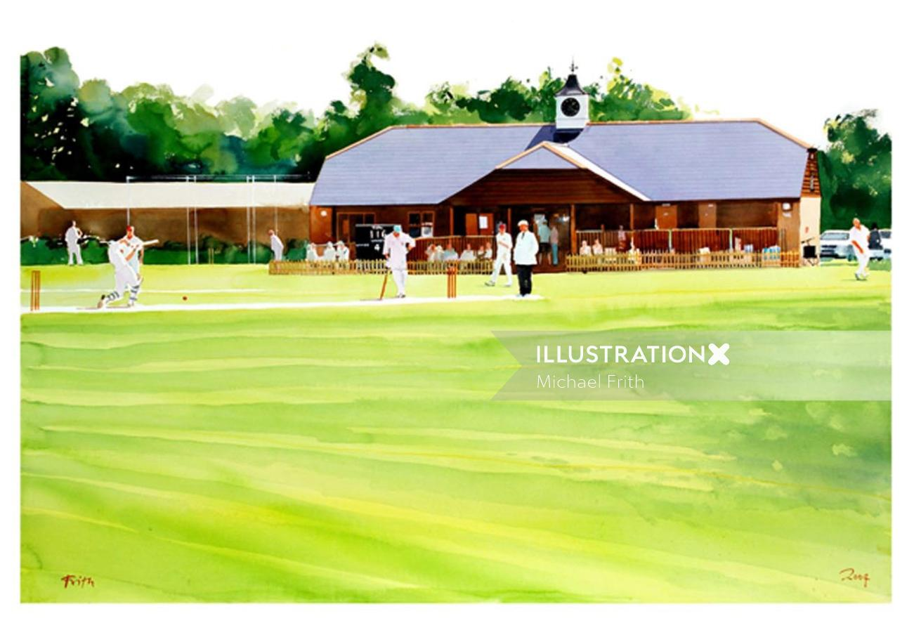 Graphic design of cricket ground