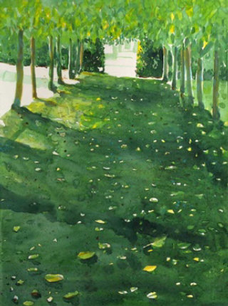 Painting of greenery garden path