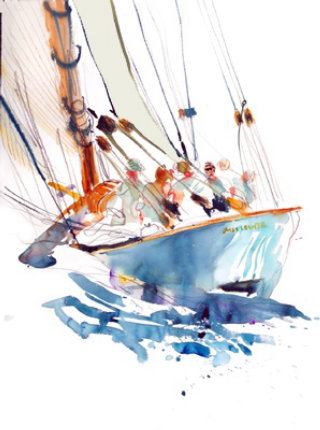 Illustration of people in sailing boat