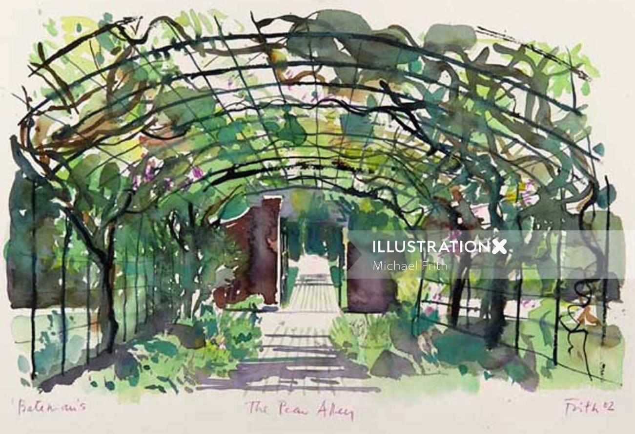 Illustration of hanging garden