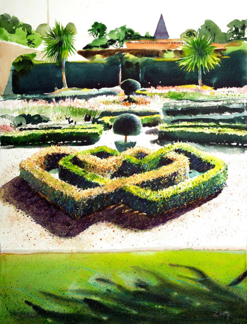 Illustration of beautiful garden by Michael Frith