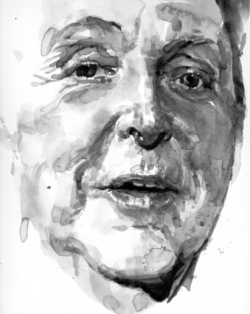Black and white portrait of Paul McCartney