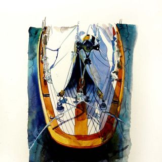Watercolor illustration of boat