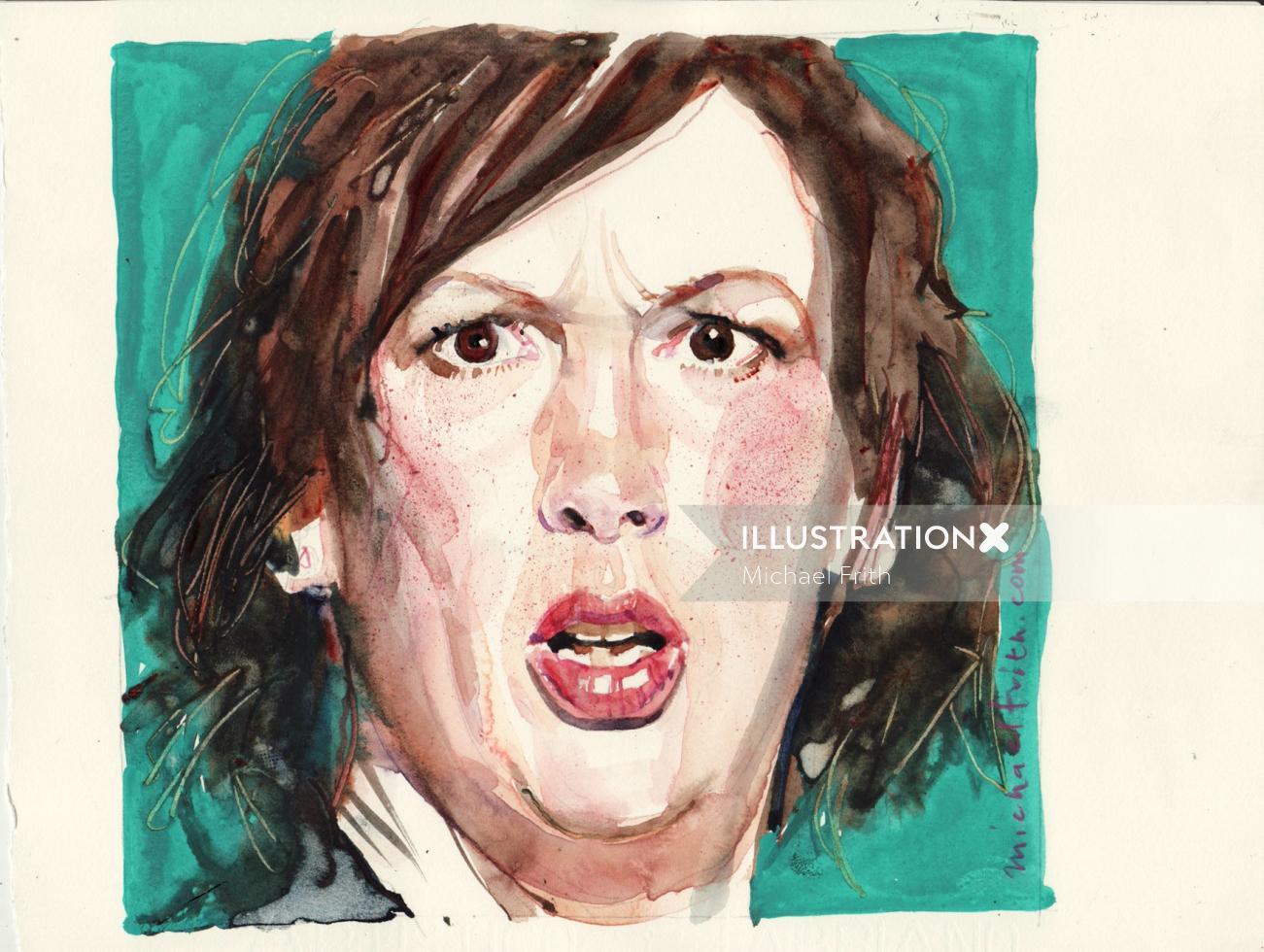 Women watercolor portrait