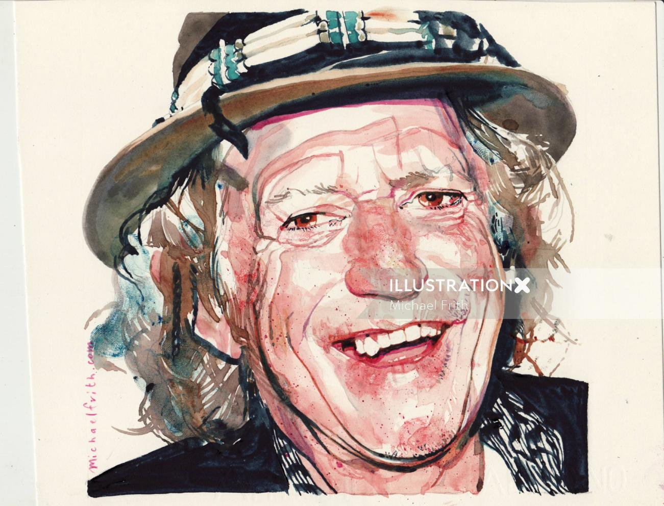 Watercolor painting of laughing old man