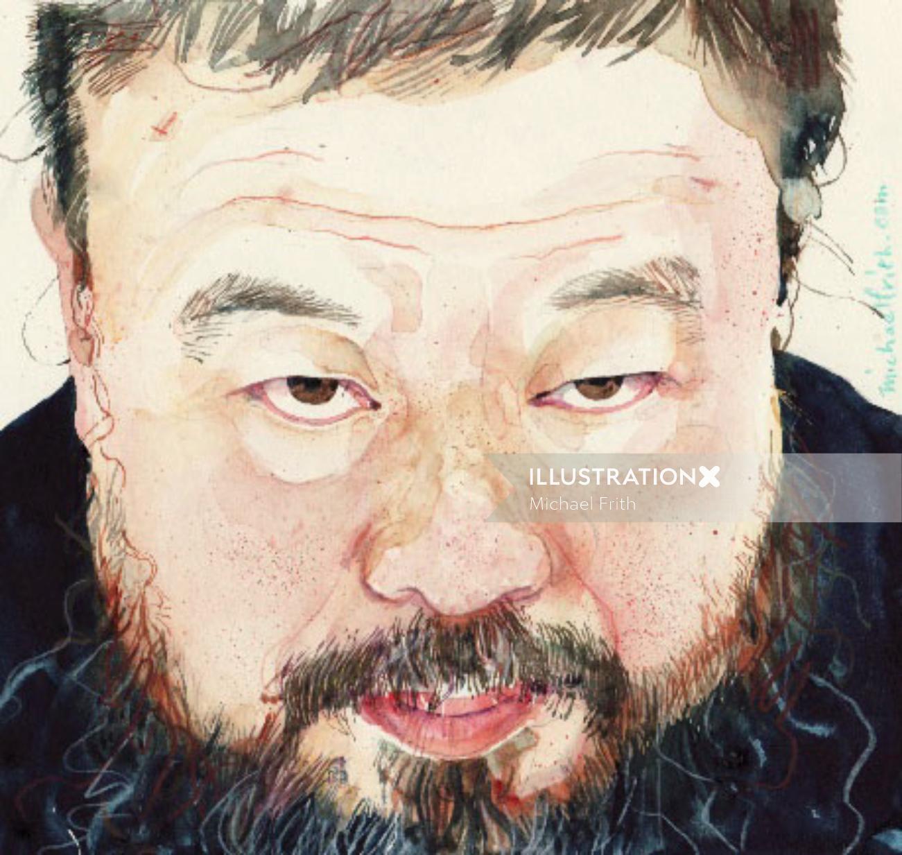 Chinese man portrait illustration