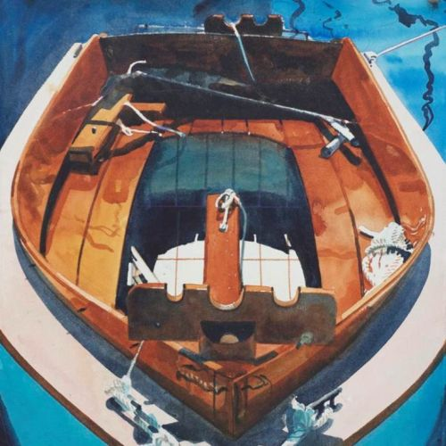Watercolor drawing of Dinghy Ship