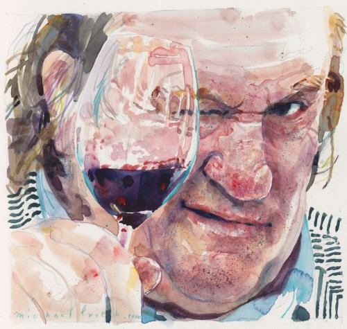 Portrait of old man while drinking