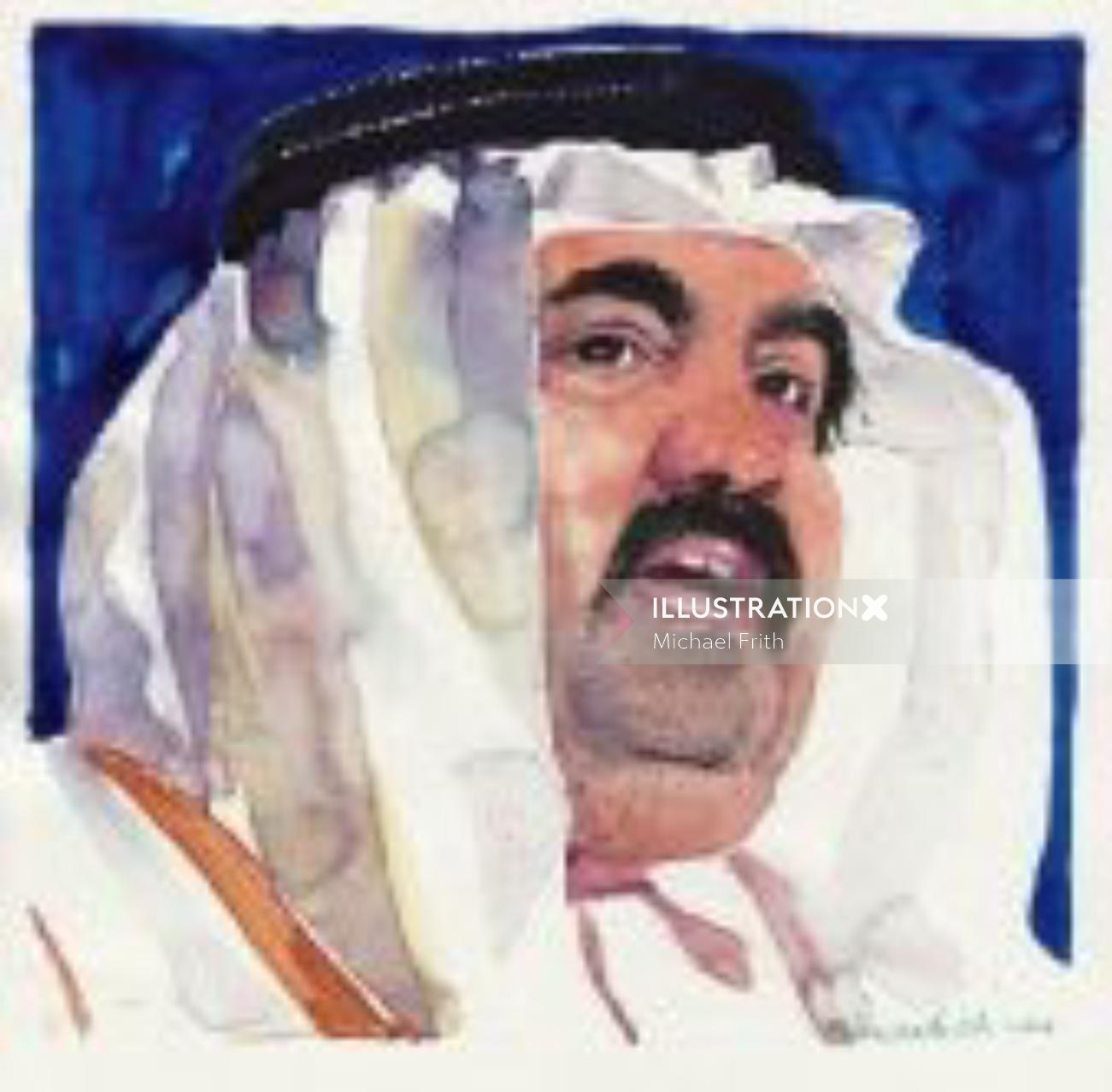 Arab Sheikh portrait art by Michael Frith