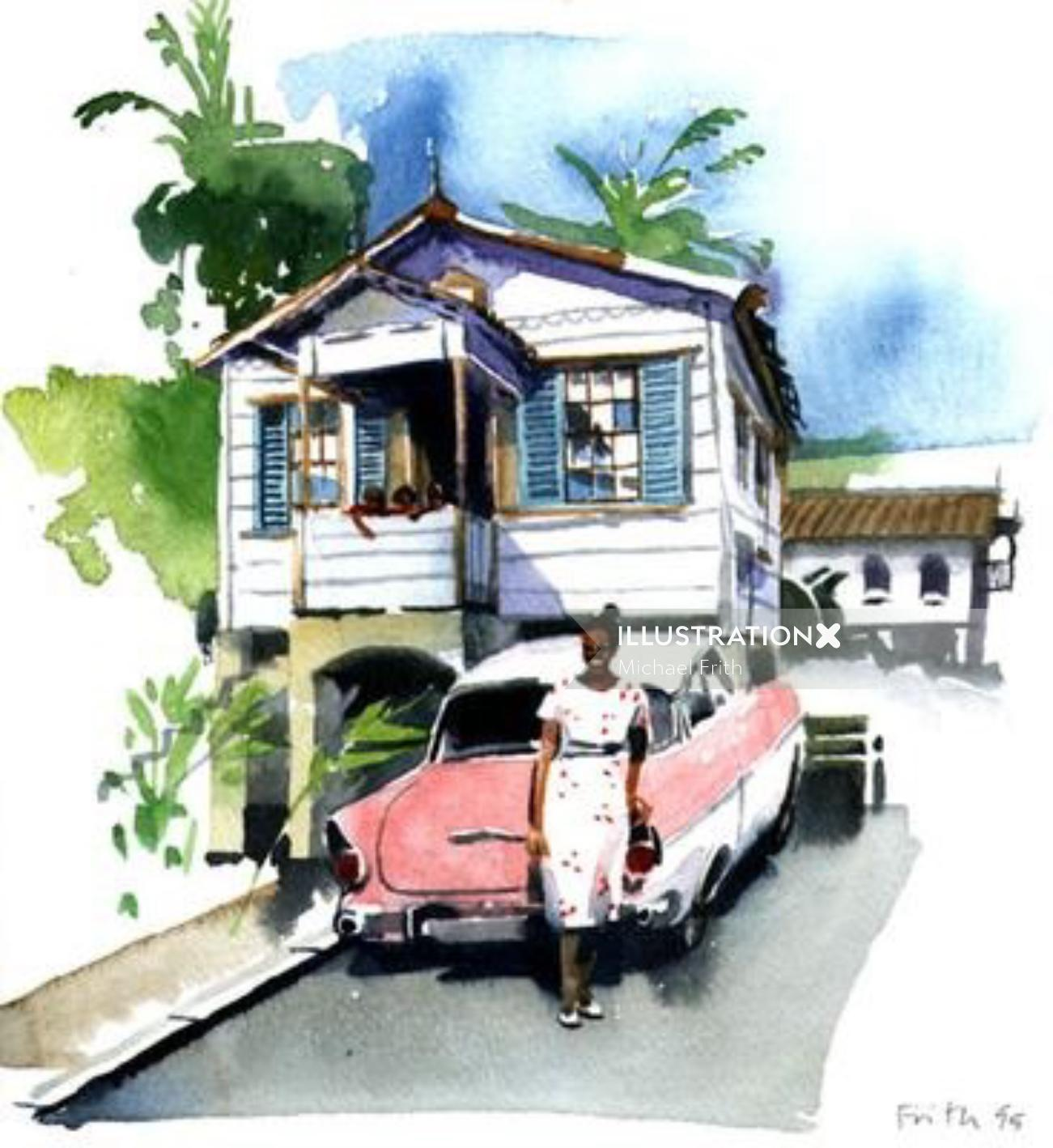 Architecture illustration of beautiful home