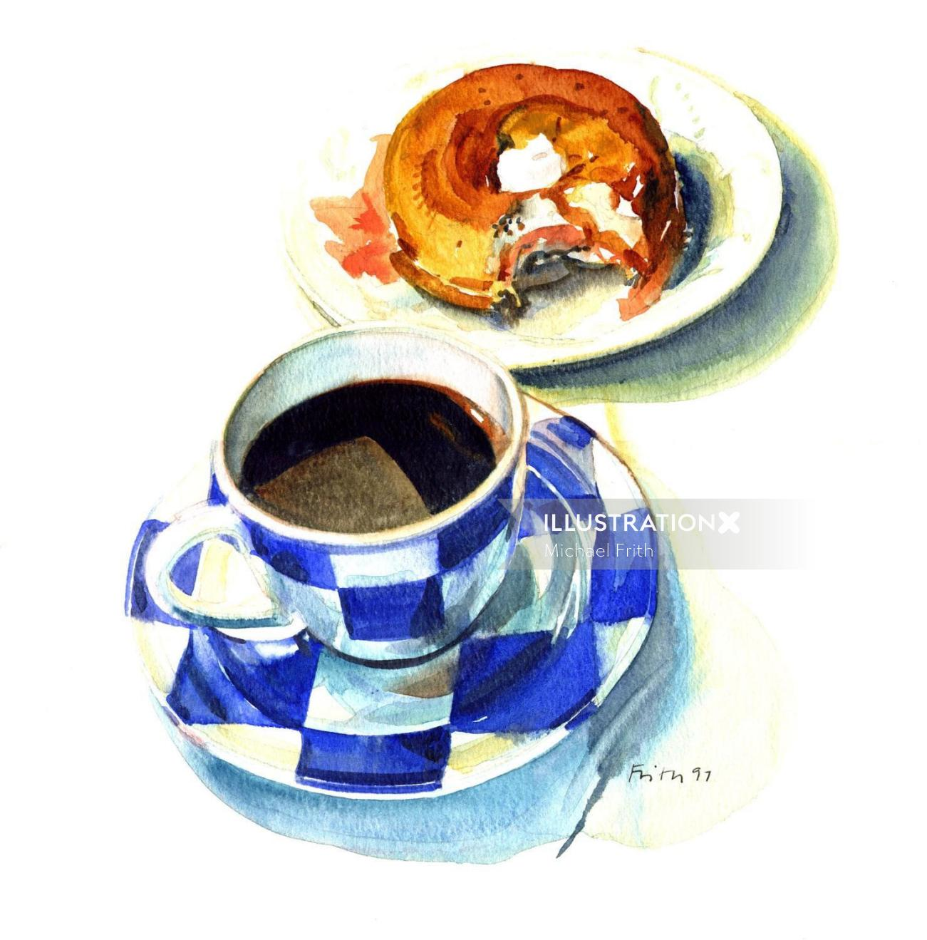 Cup of coffee with cake painting