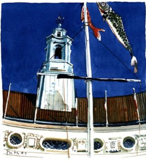 Oil painting of clock tower