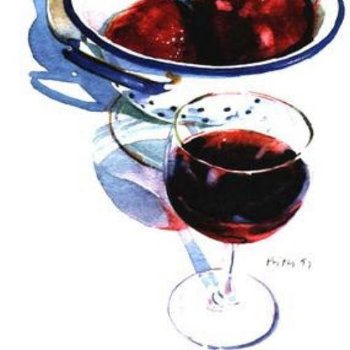 Glass of wine oil painting