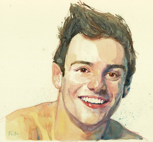 Acuarela retrato de Tom Daley