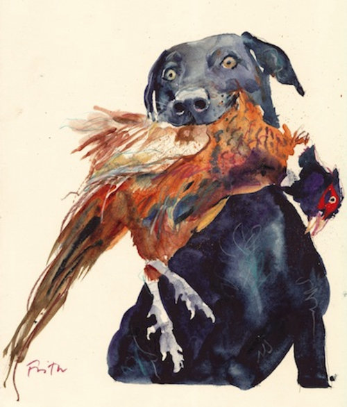 Dog eating hen watercolor drawing