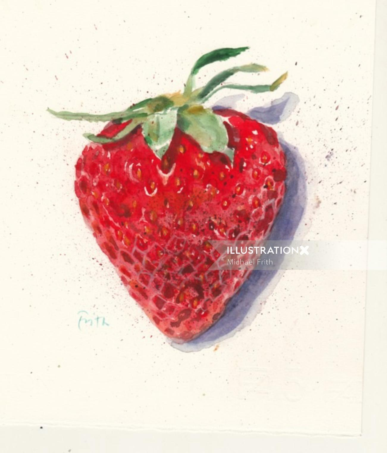 Strawberry fruit watercolour painting