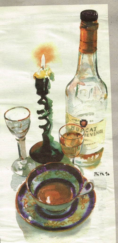 Oil painting of Wine bottles