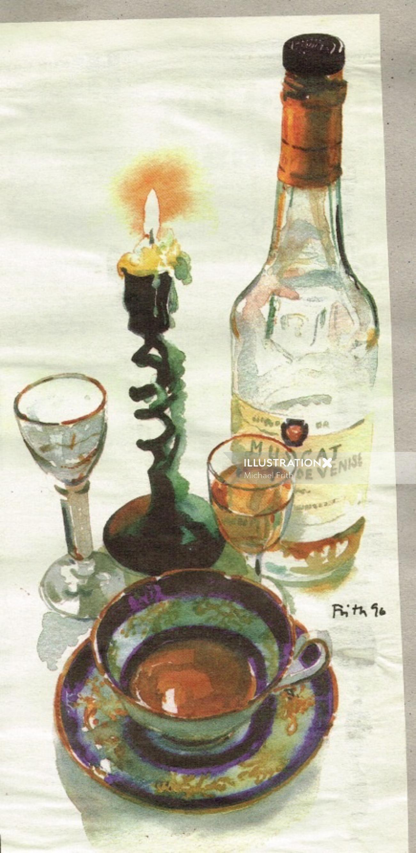Oil painting of Wine bottles