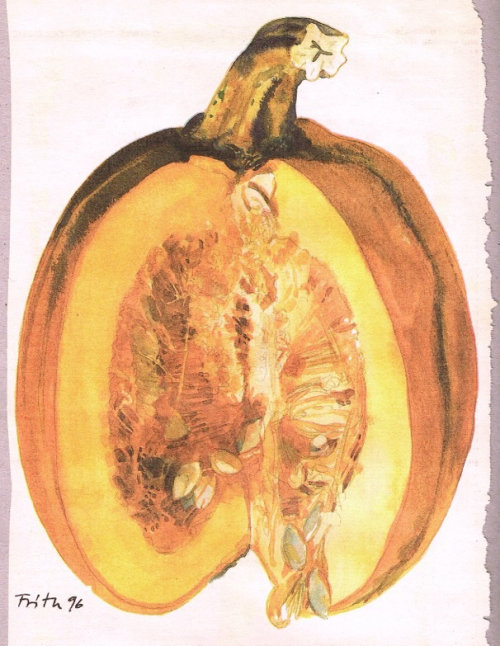 Jack-o'-lantern watercolor illustration