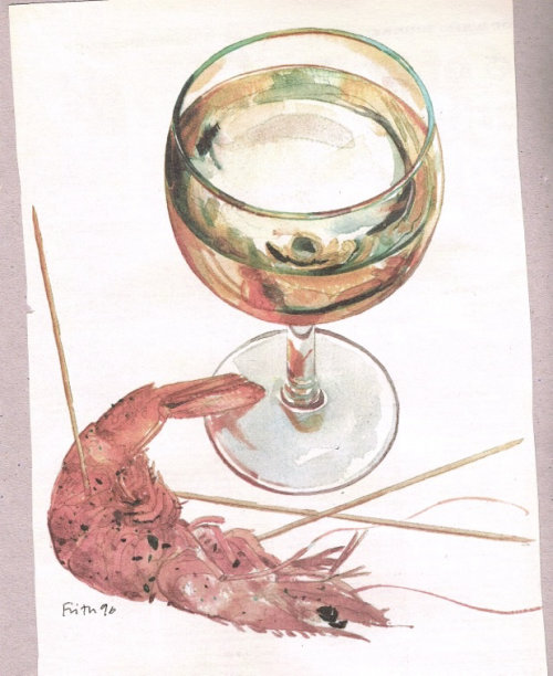 Wine and crab oil painting