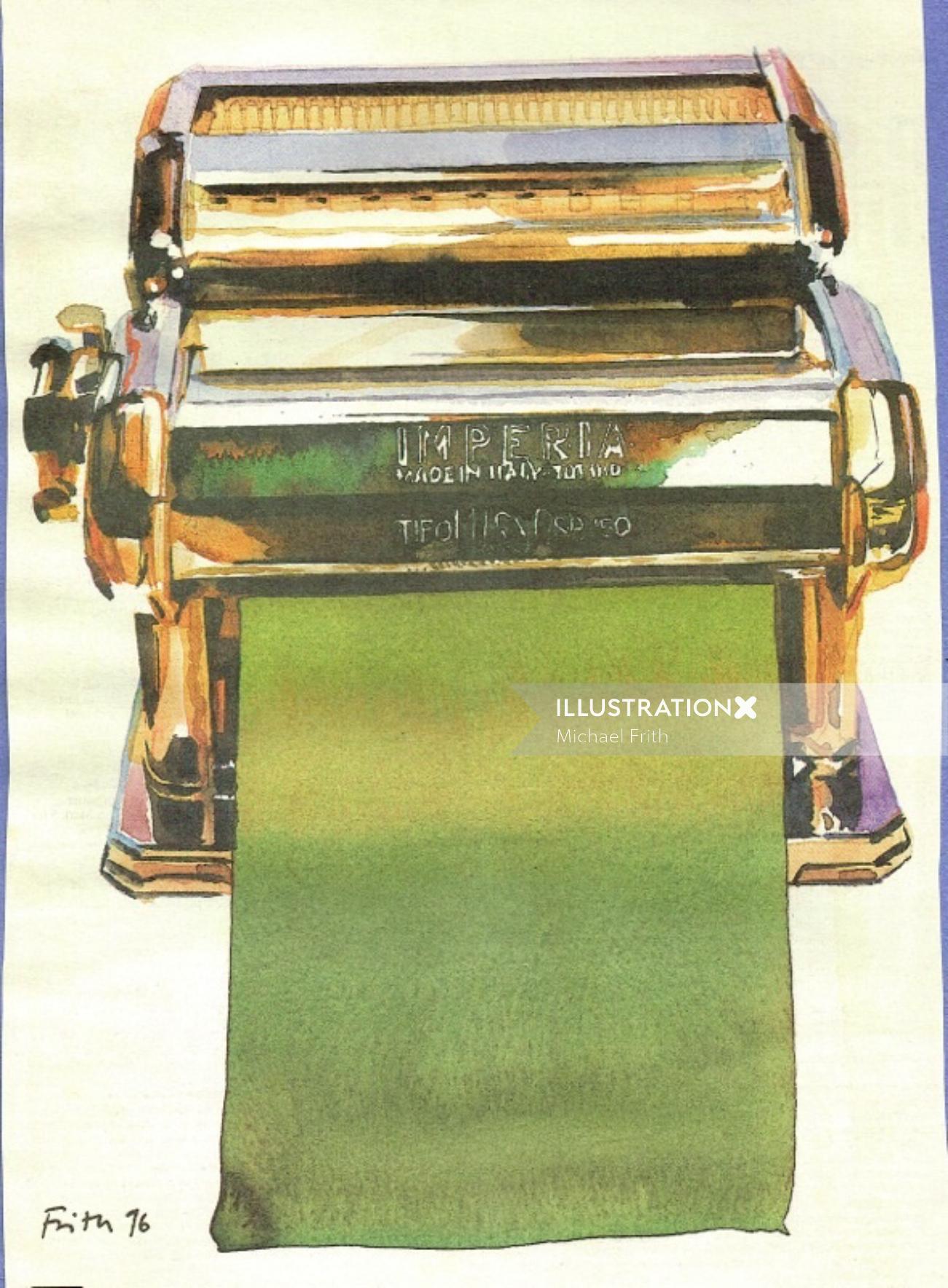 Printing machine watercolor drawing