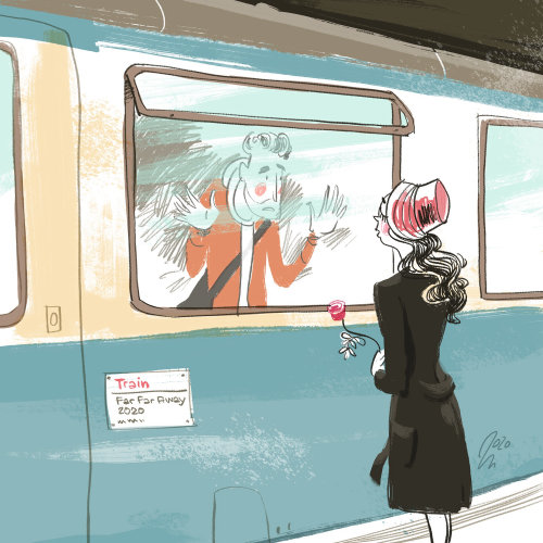 Young couple farewell at train station digital artwork