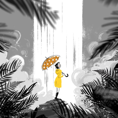 Lifestyle of Young woman with umbrella