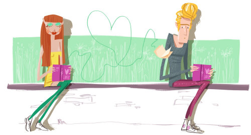 Line illustration of a couple writing love letter to each other