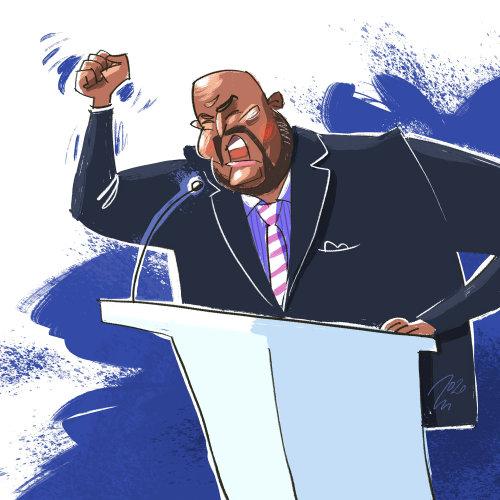 Political man giving speech