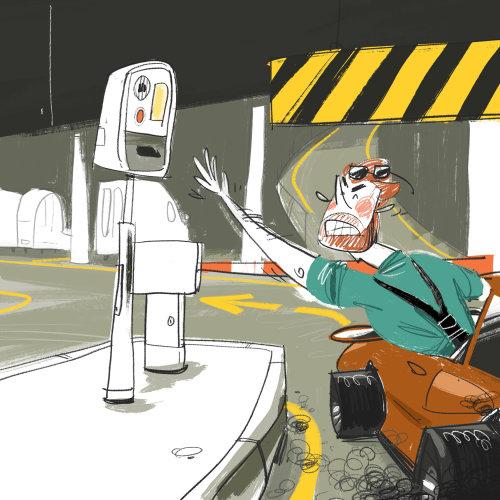 Man taking a parking ticket