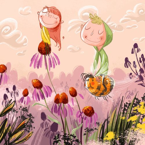children flower kids