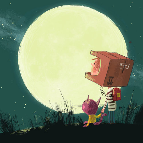 Child with pet in self made space suit staring at moon
