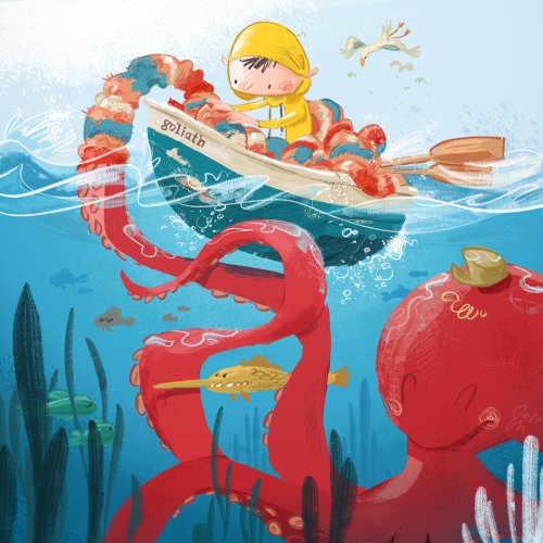 Child friendship with octopus illustration