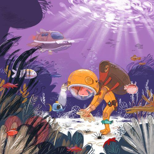 Digital art of submarine underwater adventure