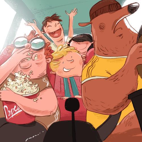 Cartoon character of road trip buddies