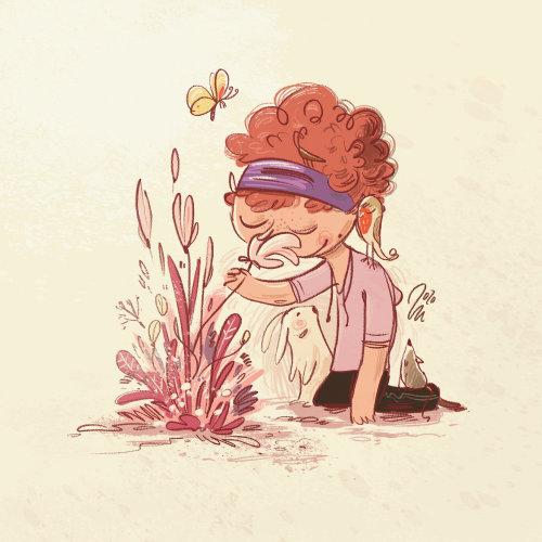 Line illustration of a girl smelling flowers