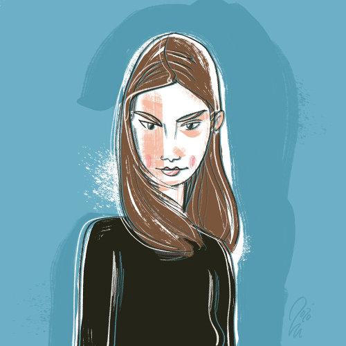 Brown hair girl graphic illustration