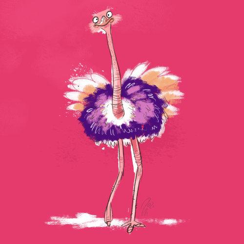 Humor illustration of Ostrich Bird