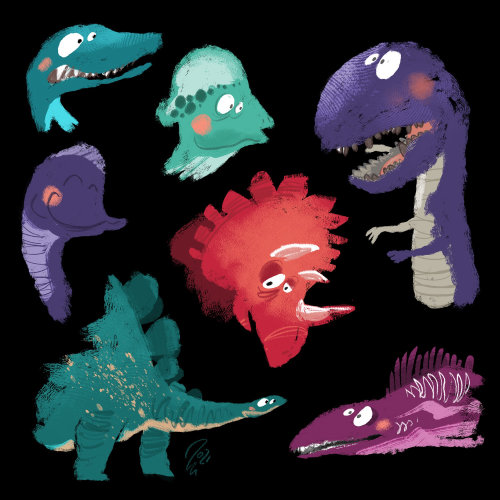 Funny colorful dinosaurs