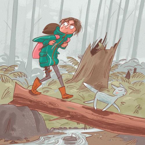 Girl walking on tree trunk in forest