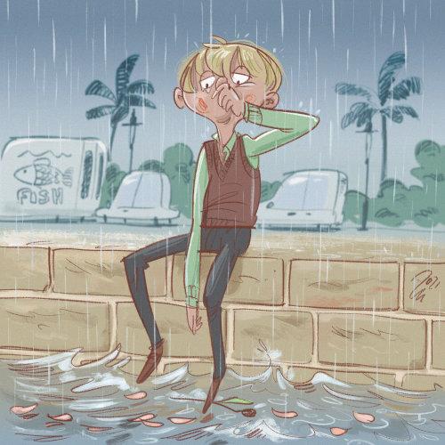 boy broken love seaside harbour