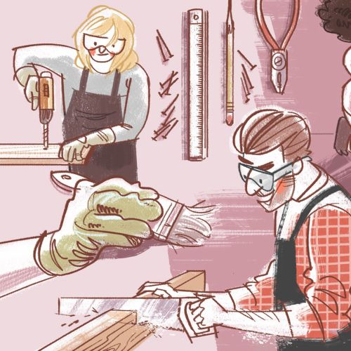 Cartoon design of Tradesman working for house