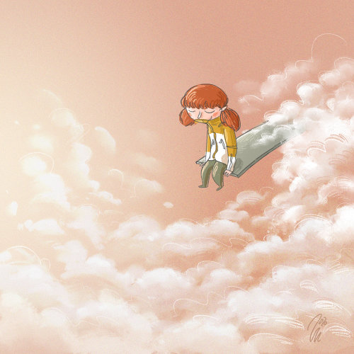 Line illustration of a girl setting inside the Cloud