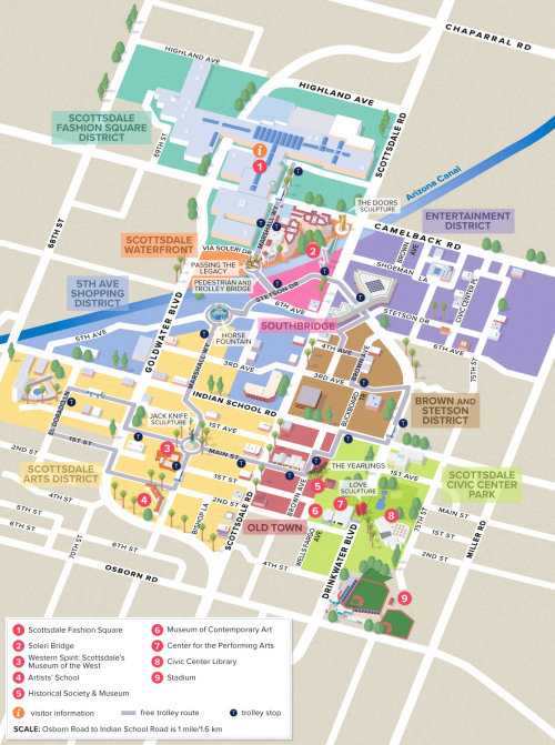 Scottsdale, AZ Illustration de la carte du centre-ville