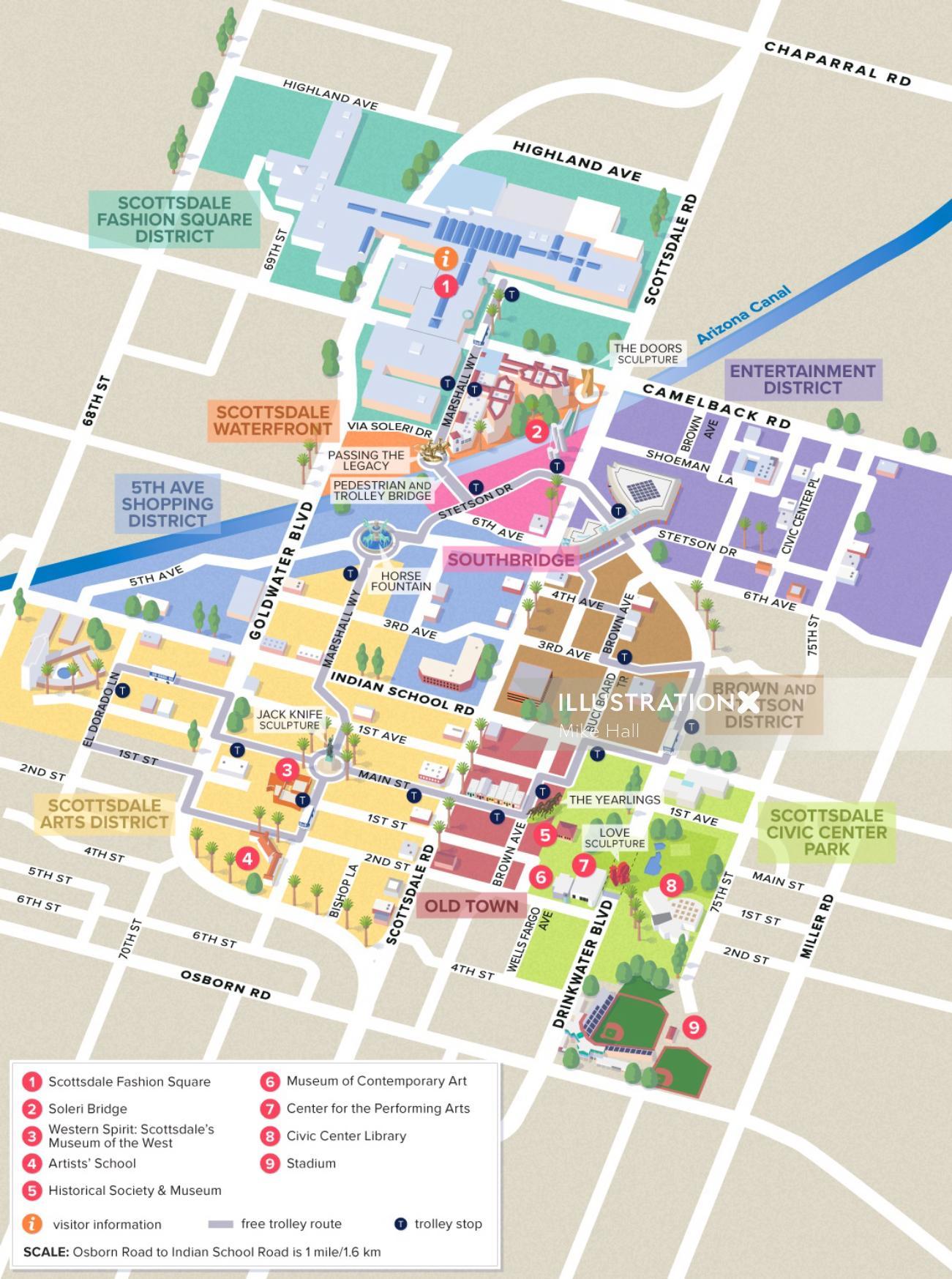 Scottsdale, AZ Downtown map illustration