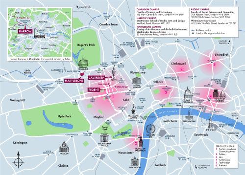 Plan du campus de l'Université de Westminster