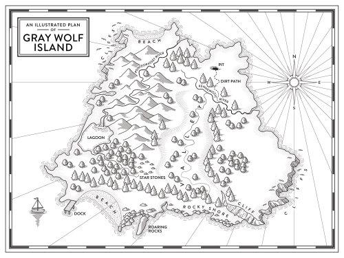 Carte imaginaire de l'île par Mike Hall