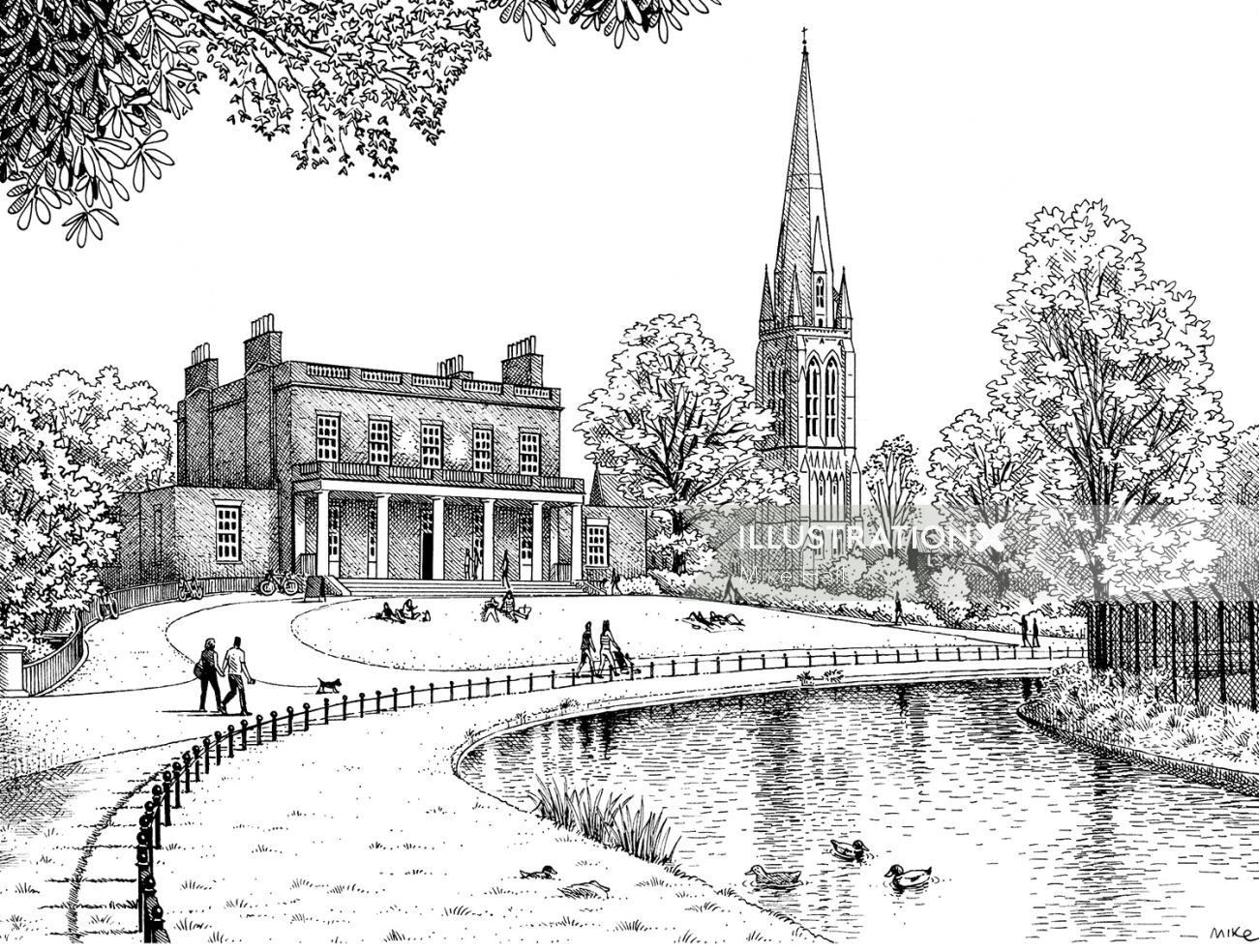 Clissold Park, London illustrated map
