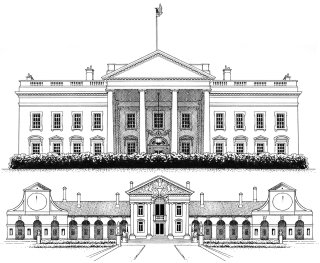 Architectural illustration of White House & Villa Barbaro