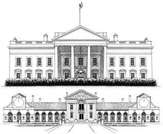 Architectural illustration of White House & Villa Barbaro